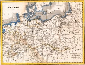 Map Of Prussia. Germany. 1835.