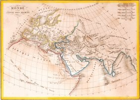 Map Of Known World Of The Ancients. 1835.