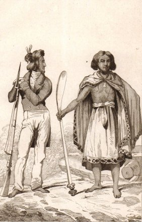 The Costumes Of Tribal Man And European Man.