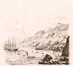 Ships Of Captain Cook. Hawaii. 1835.