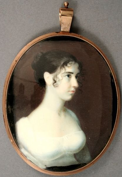1083: EARLY 19th C. MINIATURE ON IVORY IN ROSE GOLD CAS