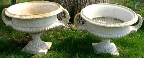 """1015A: PAIR OF WHITE CAST IRON PLANT URNS, 15""""H"""