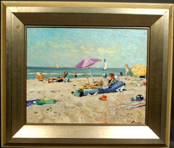 1019: NICOLAAS VAN DER PLAS, BEACH SCENE, O/C