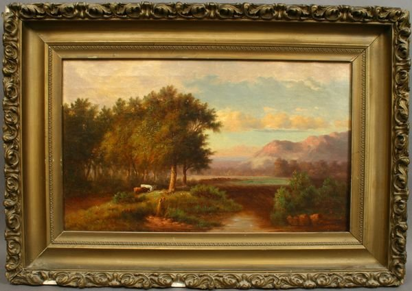 1121: SGND BENJAMIN CHAMPNEY, COWS BY RIVER, O/C