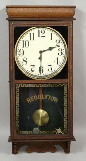 1361: C1890 INGRAHAM REGULATOR WALL CLOCK, BRISTOL : Lot 1361