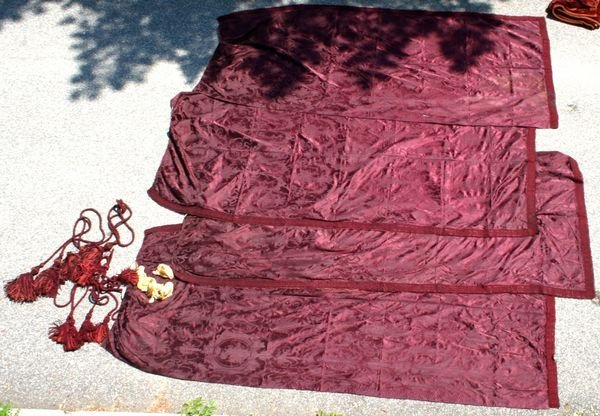 1001: TWO PAIRS OF 19th CENTURY DAMASK CURTAINS