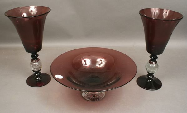 1009: 20th C. 3-PIECE PAIRPOINT AMETHYST CONSOLE SET