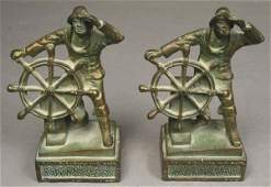 1428 PAIR 20th C GLOUCESTER FISHERMEN BOOKENDS