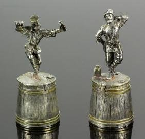 Pair Of Russian Silver Vodka Cups