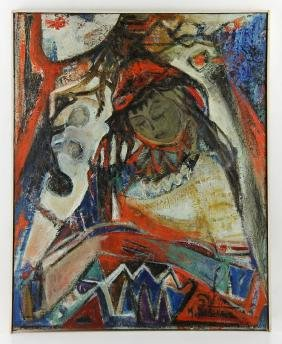 Mula Ben-Haim, Seated Woman, Oil on Canvas