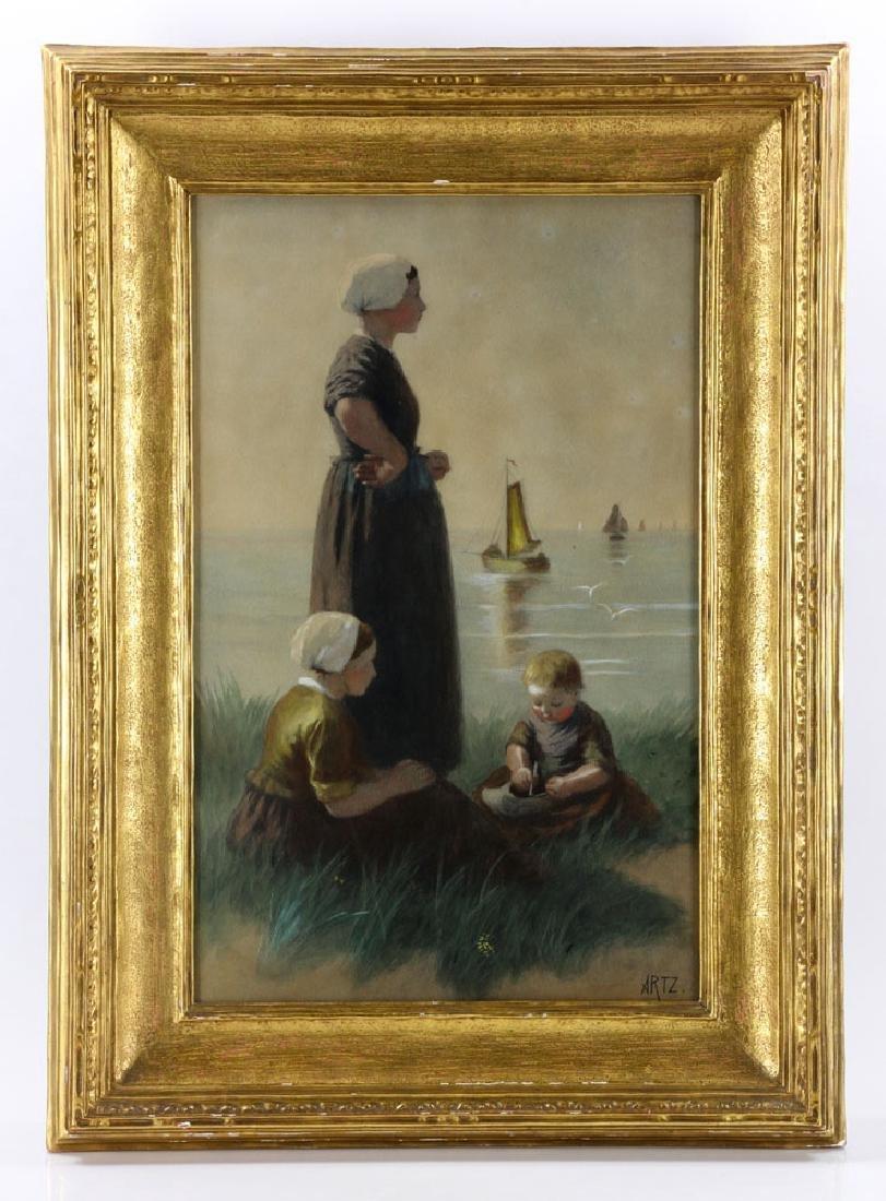 Artz, Family at Seaside, Gouache