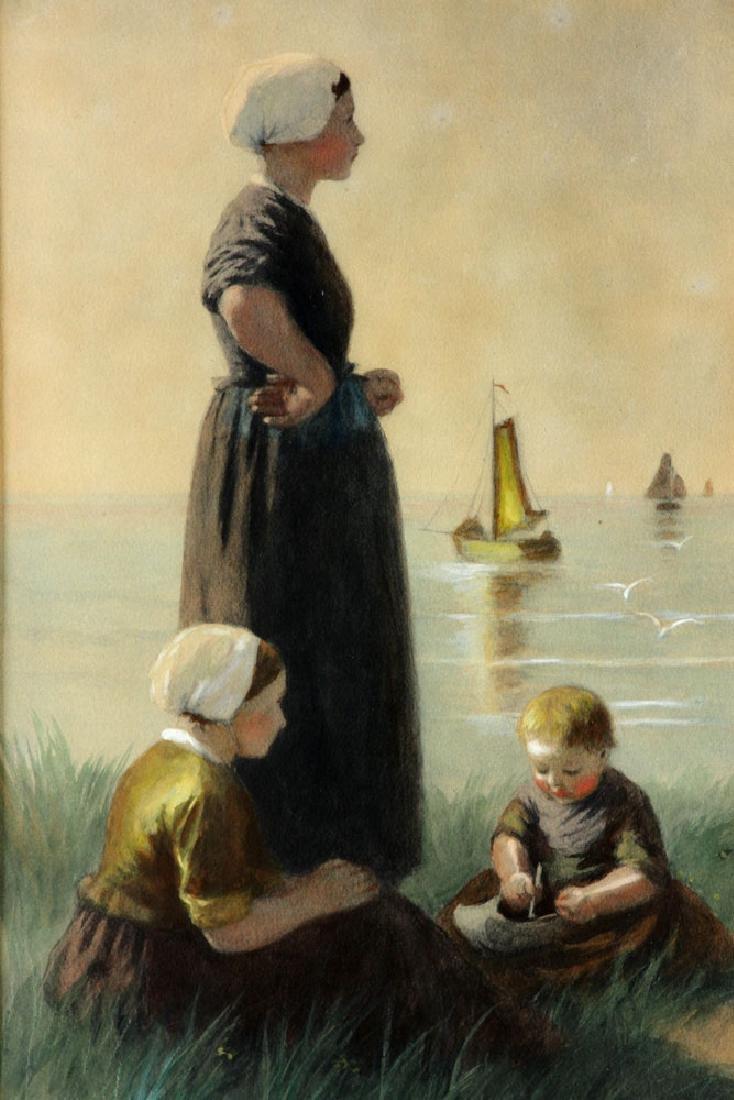Artz, Family at Seaside, Gouache - 2