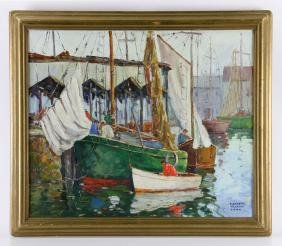 "Cook, ""Gloucester Harbor,"" Oil on Board"