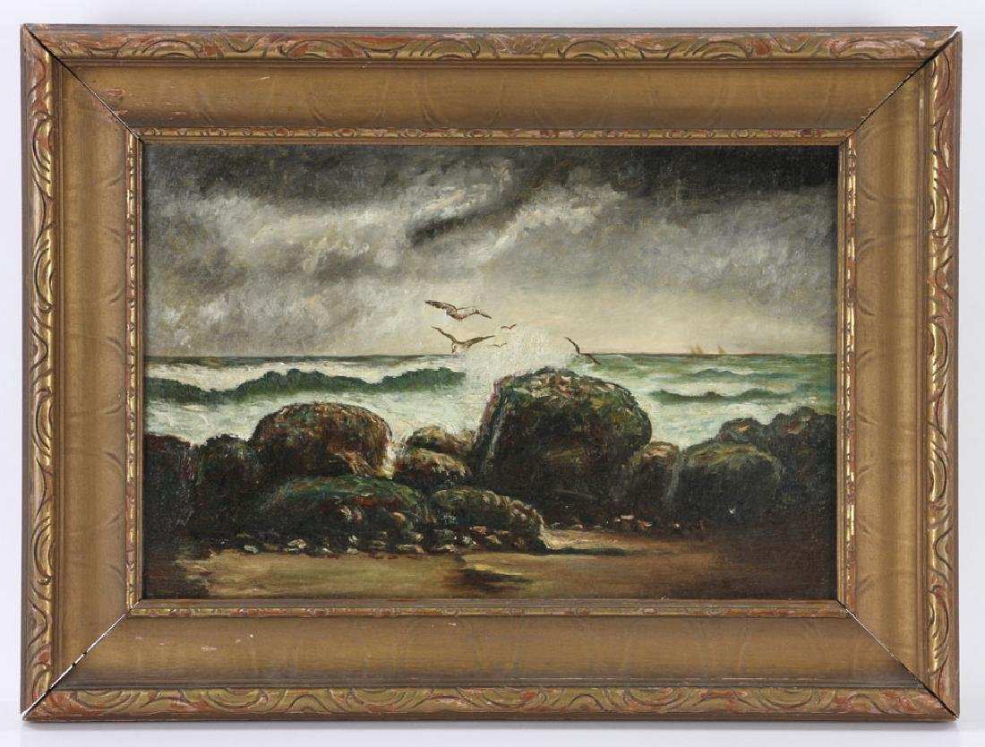 19th C. Seaside, Oil on Canvas
