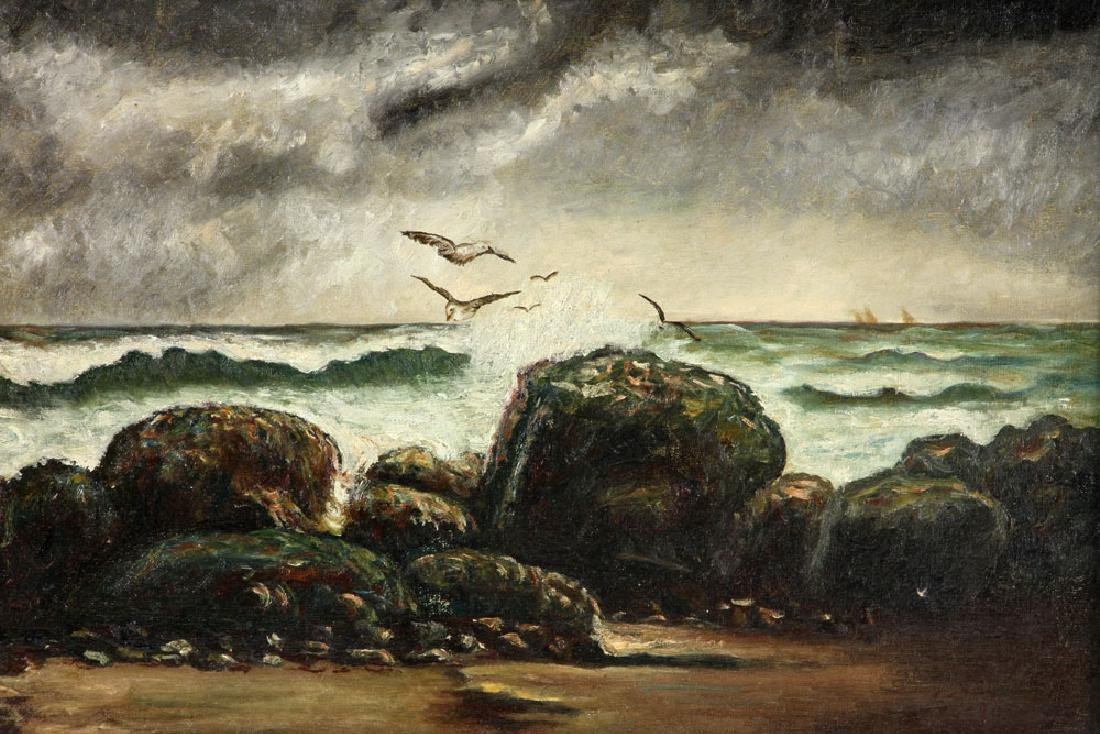 19th C. Seaside, Oil on Canvas - 2