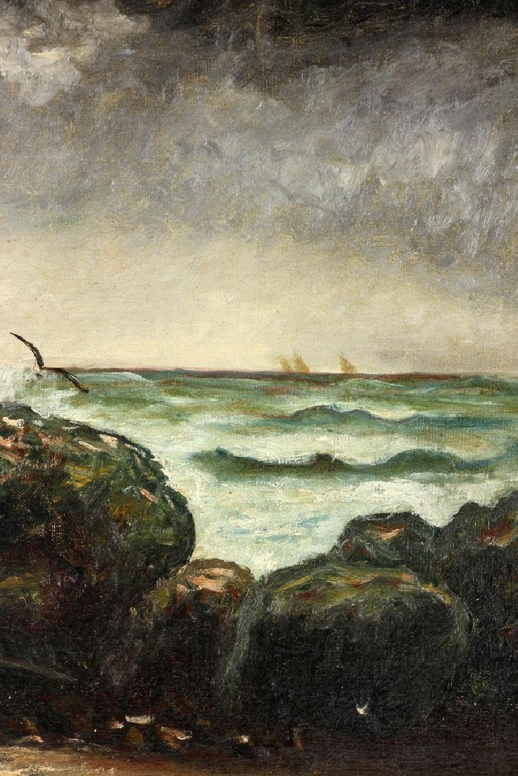 19th C. Seaside, Oil on Canvas - 5
