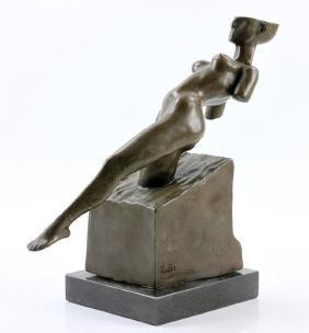 After Rodin, Art Deco Nude, Bronze