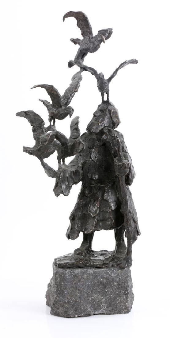 Israeli Sculpture of Man with Birds, Bronze