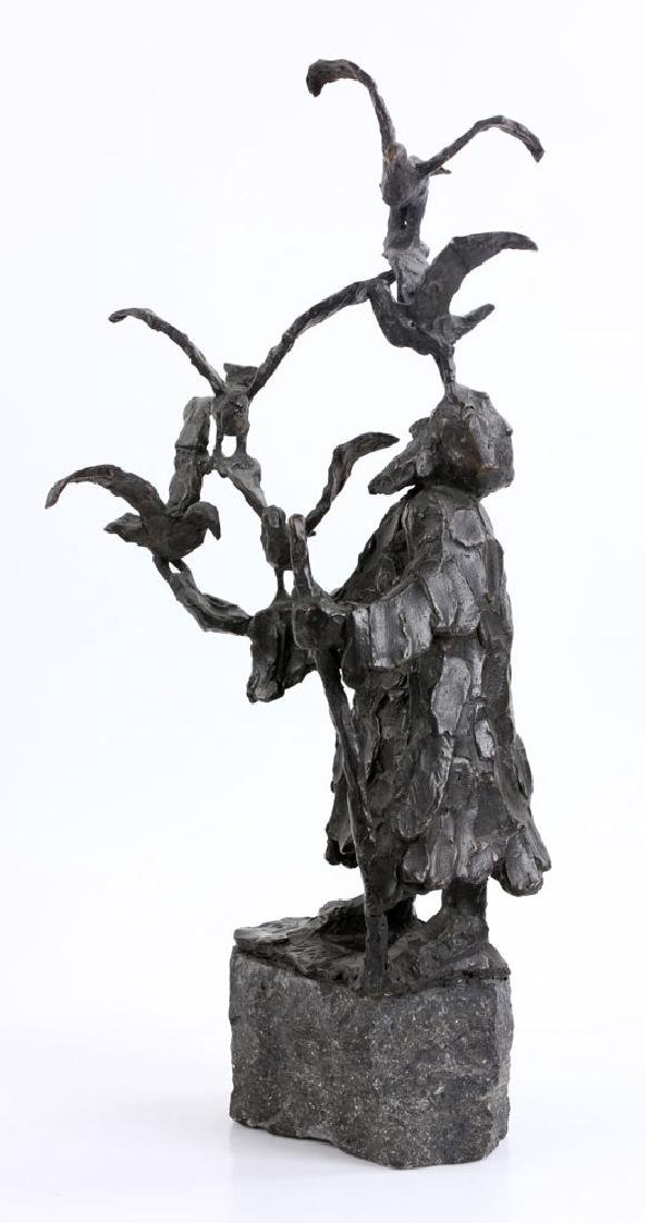 Israeli Sculpture of Man with Birds, Bronze - 2