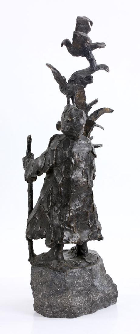 Israeli Sculpture of Man with Birds, Bronze - 3