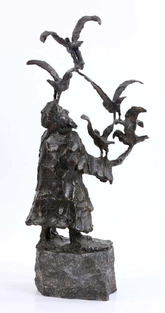 Israeli Sculpture of Man with Birds, Bronze - 4