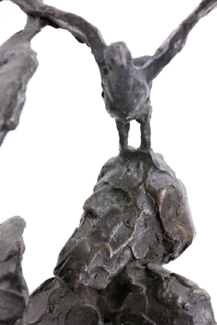 Israeli Sculpture of Man with Birds, Bronze - 5