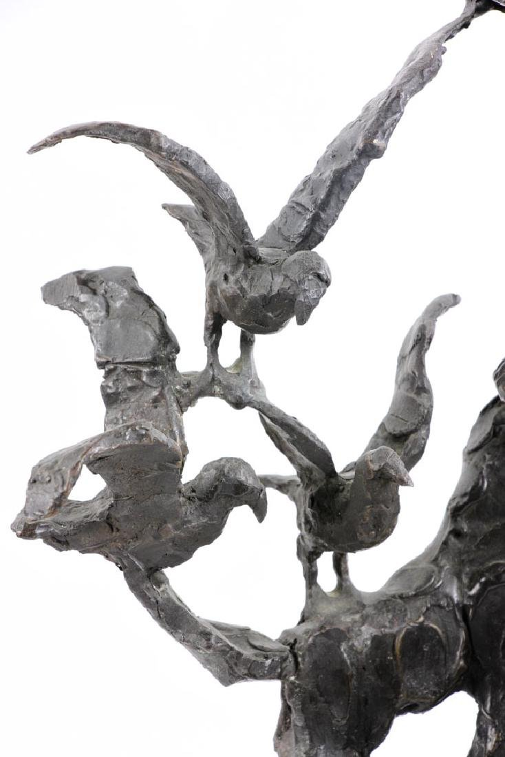 Israeli Sculpture of Man with Birds, Bronze - 6