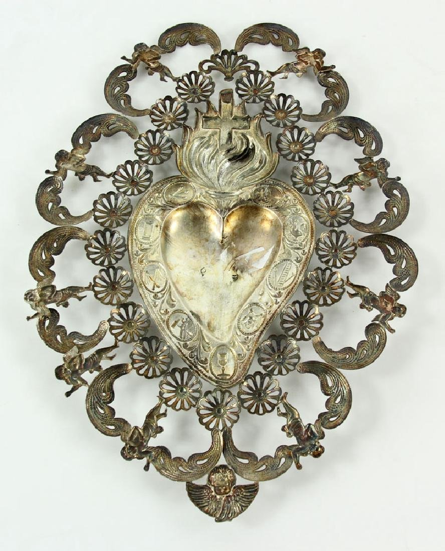 Spanish Silver Sacred Heart - 2