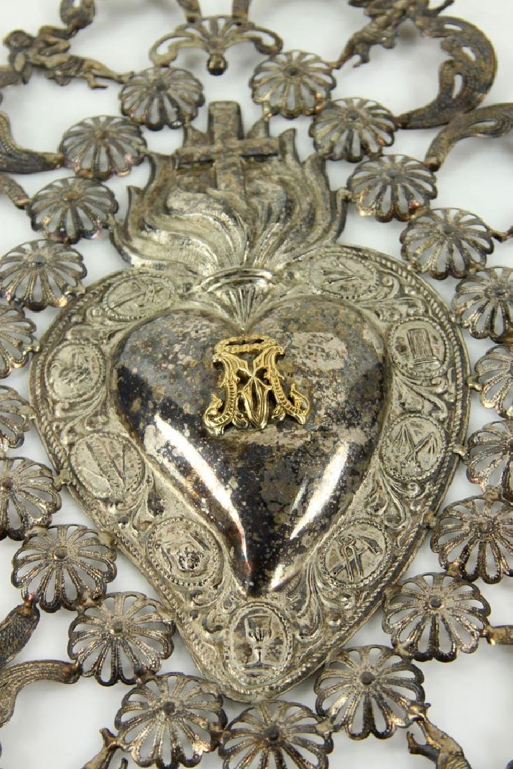 Spanish Silver Sacred Heart - 3