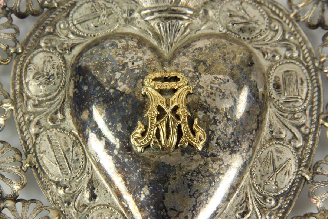 Spanish Silver Sacred Heart - 5