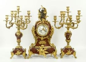19th C. French Clock and Candelabras