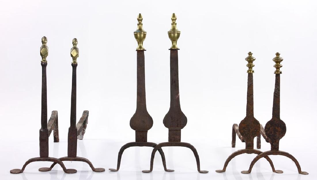 Three Chippendale Andiron Sets