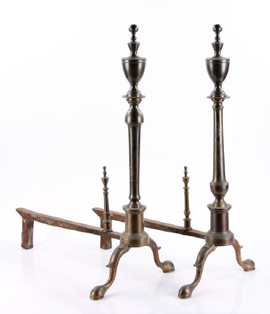 Pair of 18th C. American Bell Andirons