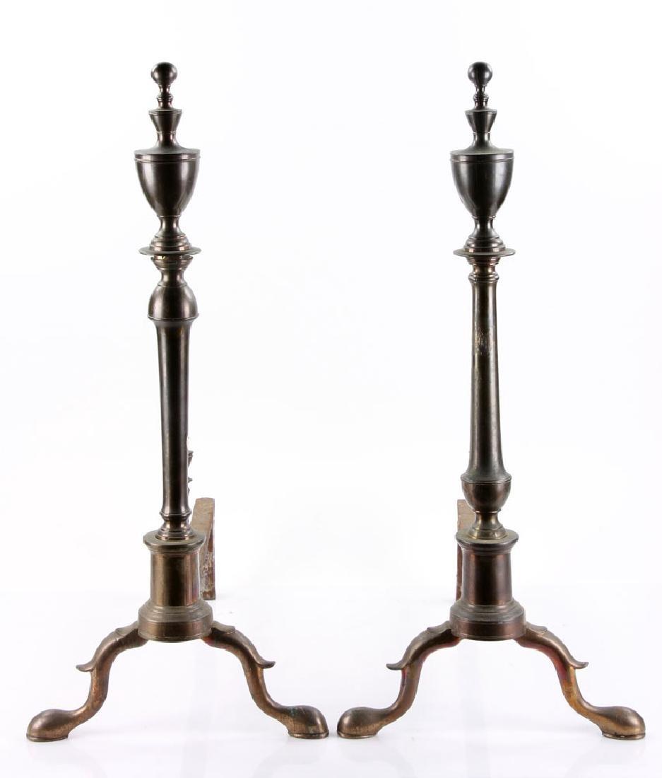 Pair of 18th C. American Bell Andirons - 4
