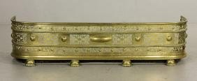 19th C. Pierced Brass Fireplace Fender