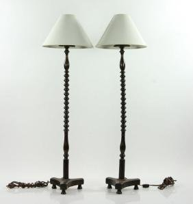 Pair of Wig Stand Lamps
