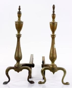 Near Pair of Brass Andirons