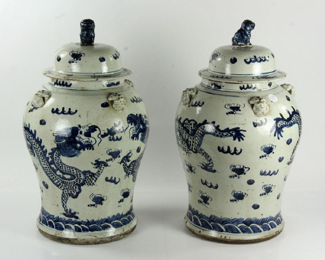 Pair of Blue on Cream General Jars - 2