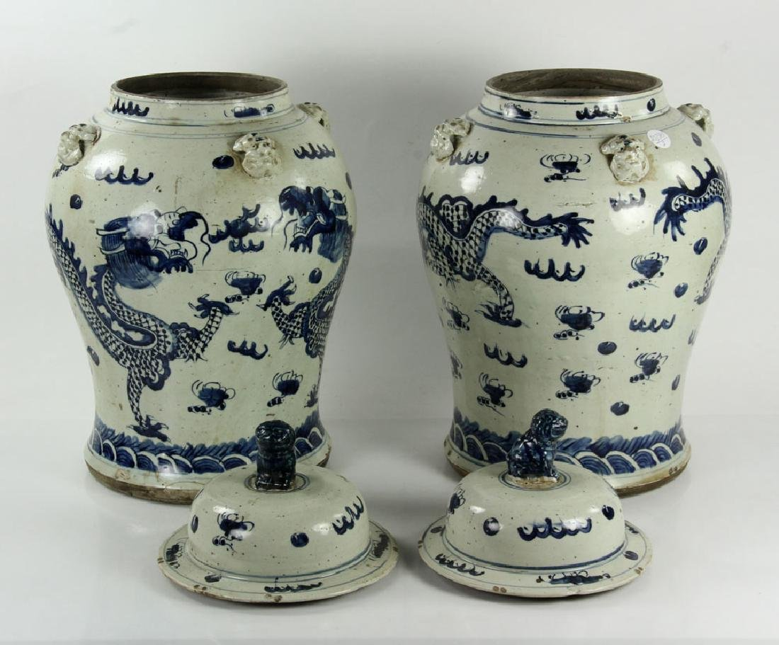 Pair of Blue on Cream General Jars - 3