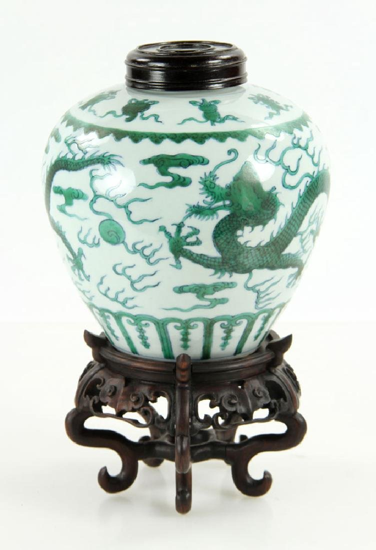 Chinese Qianlong Famille Verte Porcelain Jar