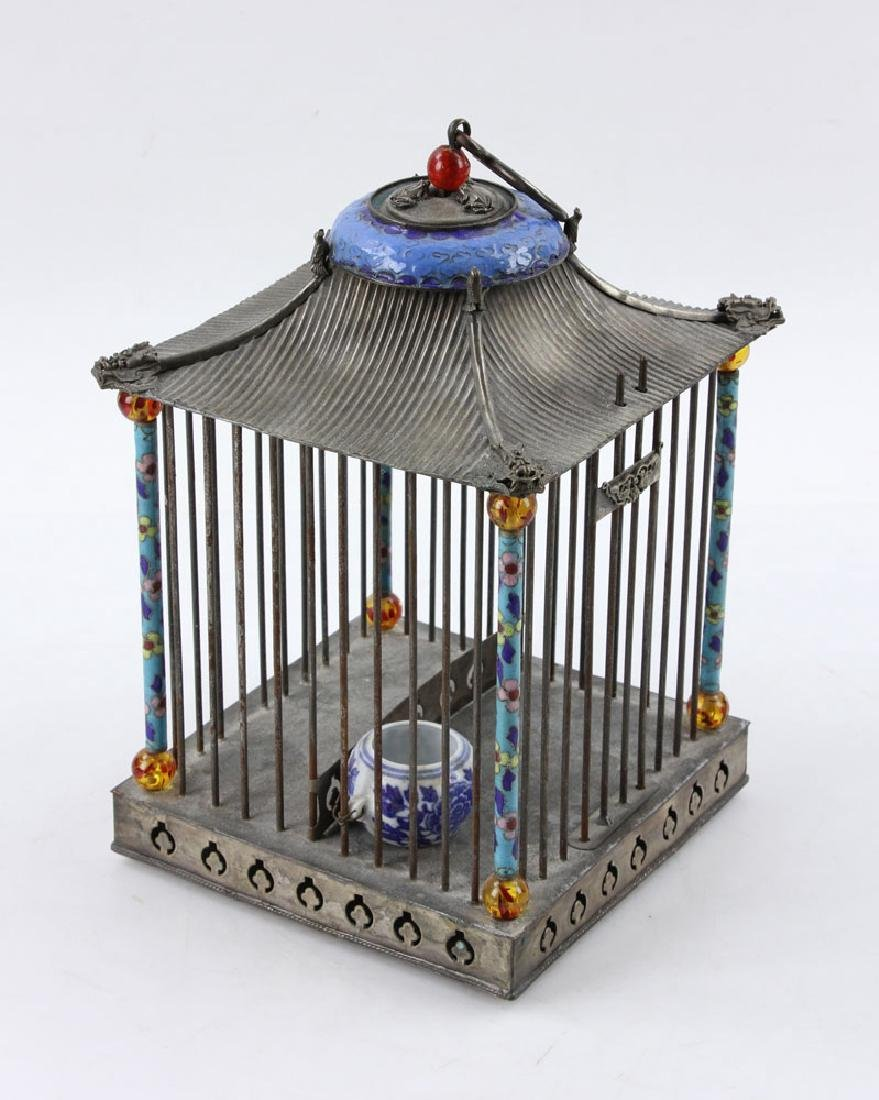 Chinese Republic Period Enameled Bird Cage
