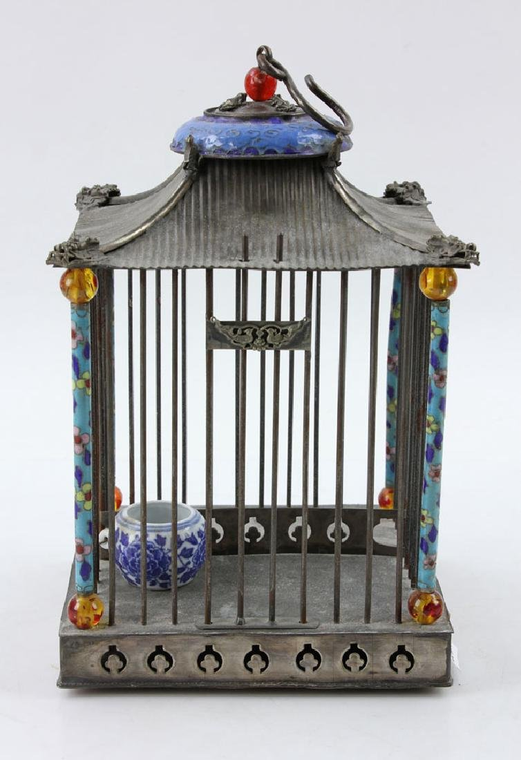 Chinese Republic Period Enameled Bird Cage - 5