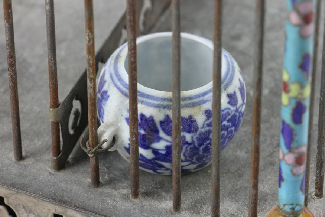 Chinese Republic Period Enameled Bird Cage - 9