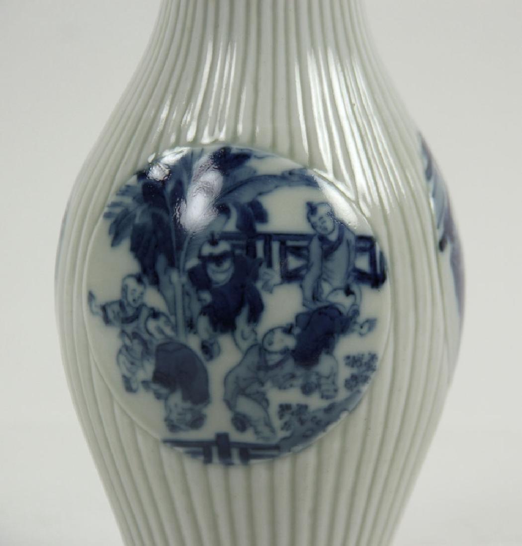 Chinese Olive Shape Blue and White Vase - 5