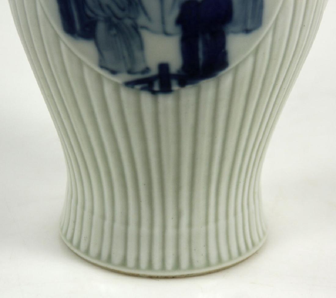 Chinese Olive Shape Blue and White Vase - 7