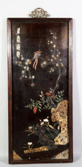 Chinese Lacquer and Jade Panel