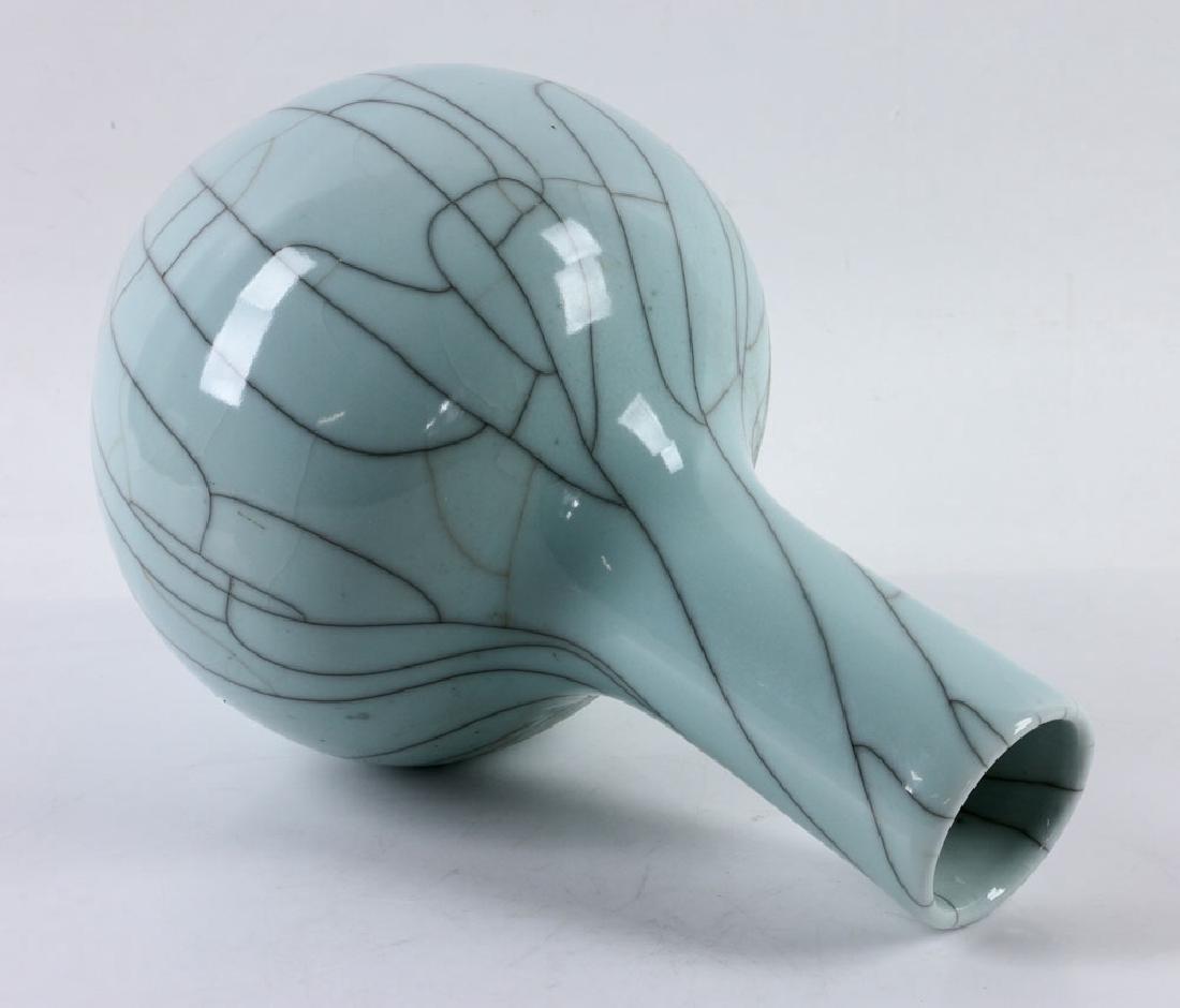 Chinese Crackleware Celadon Vase - 5