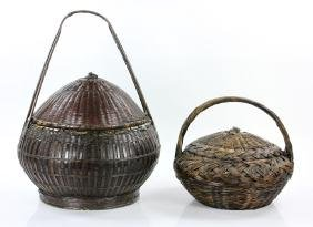 Two Chinese Round Baskets