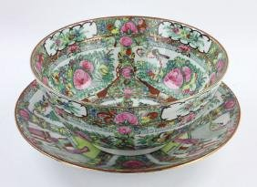 Chinese Rose Medallion Punch Bowl and Charger