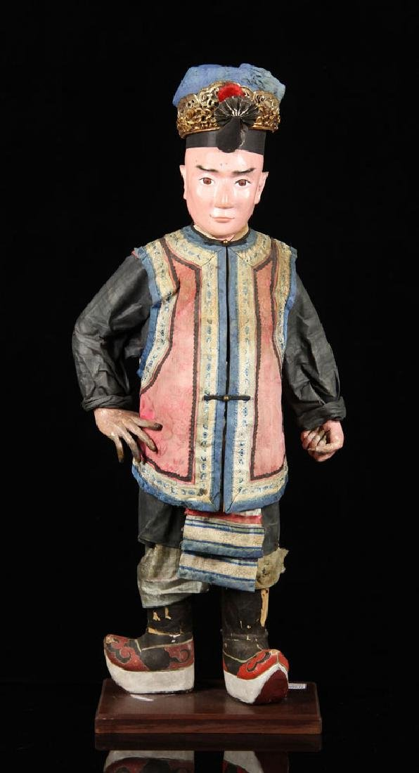 19th C. Chinese Figure in Embroidered Costume
